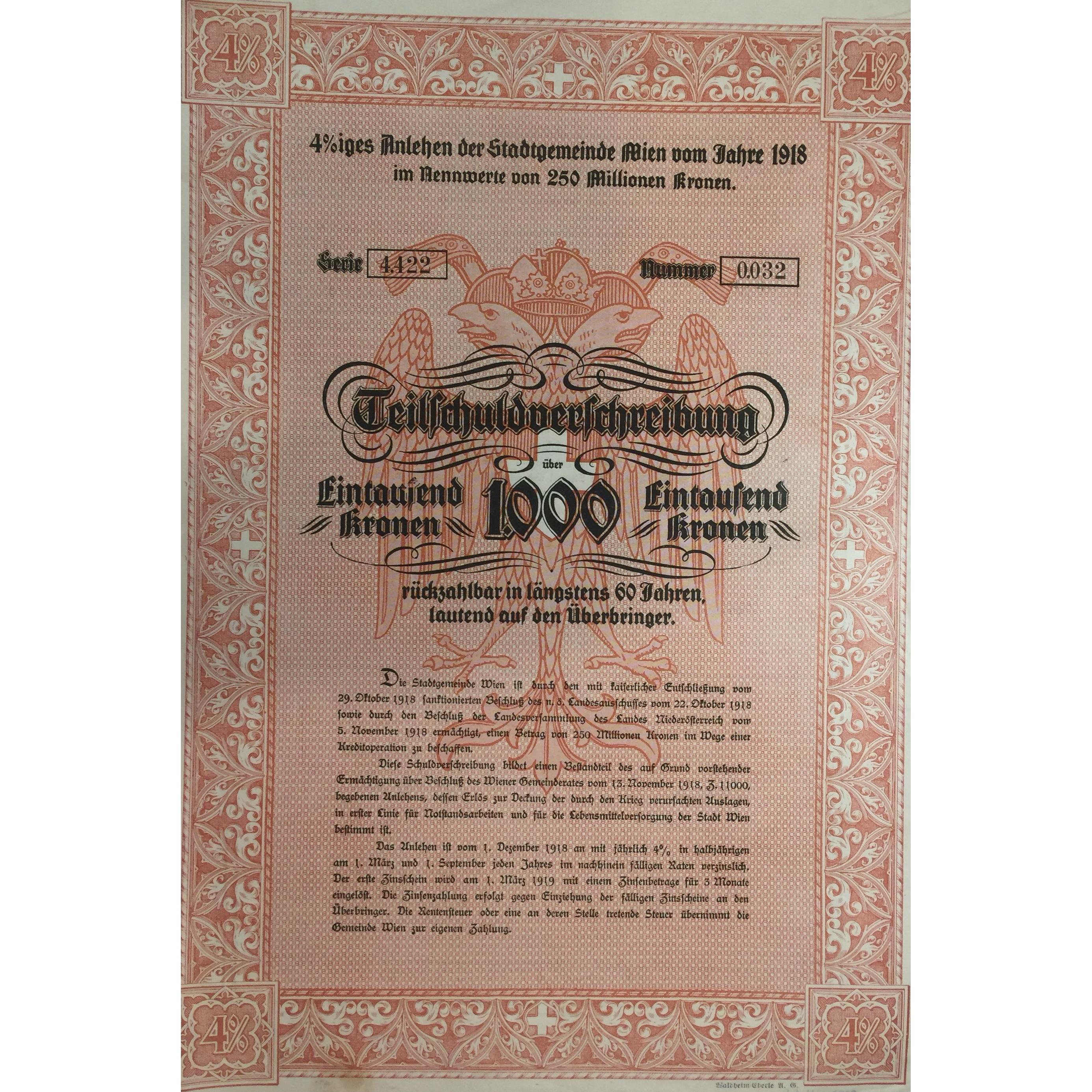 1918 City Of Vienna Loan Of 1000 Kronen At 4 Tokens Girl
