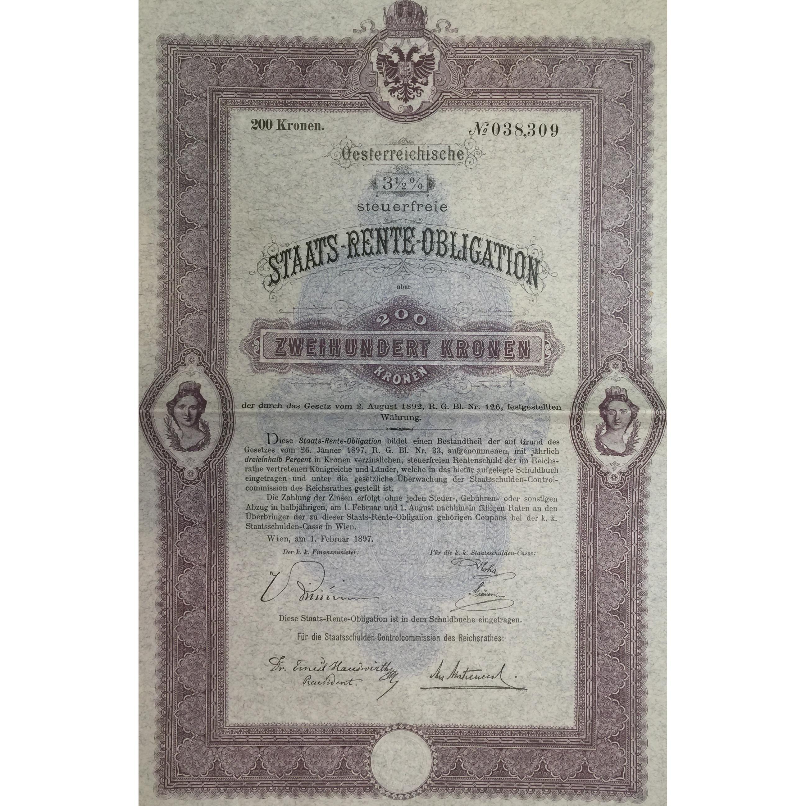 AUSTRIA CITY OF VIENNA 4 /% BOND stock certificate 1902 400 CROWNS